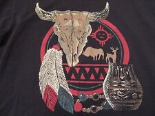 Vintage Southwest Indian Aztec Buffalo Skull Pottery SS T Shirt Size L