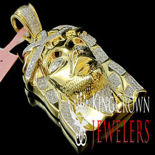 Genuine Real Diamond Mens Yellow Gold Finish Jesus Face Piece Head Pendant Charm