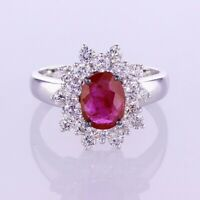 2.30 CT Ruby and Diamond Ring in 18K White Gold 018464