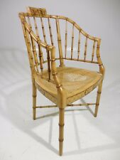Rare Baker Furniture Faux Bamboo Chair Hand Painted Accents Mid Century Modern