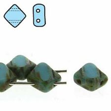 Turquoise Picasso Table Cut 6mm Silky Diamond Glass Czech 2-Hole 40pc Tile Beads