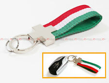 GREEN WHITE RED STRIPE ITALY FLAG  NYLON LEATHER BAND KEY FOB CHAIN RING STRAP