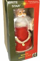 Vintage Brite Star MUSICAL SANTA Original Box Rotates Made in Japan Jingle Bells