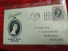 Malaysia Malaya 1953 Coronation Queen Elizabeth QE II FDC TRENGGANU SINGAPORE
