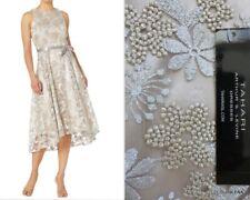 NWT TAHARI ASL Embroidered Silver/Champagne Fit & Flare Ribbon Belt dress Sz. 12
