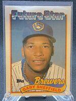 1989 Topps Baseball Future Star Gary Sheffield Rookie Card #343 Brewers
