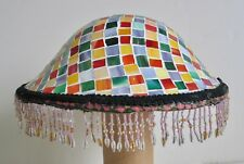 Vintage Table Floor Lamp Shade Tile Motif Multi Color Beaded Fringe Cone Modern