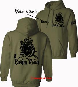 Personalised carp fishing Hoodie CARPY KING big carp hunter crew barbel fishing