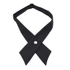 Women Solid Color Cross Bow Tie Girls School Uniform Bow Ties Decor Necktie LD