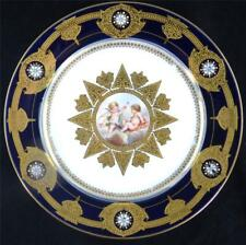 N516 ANTIQUE  FRENCH SEVRES STYLE PORCELAIN PLATE CHERUBS COBALT BLUE ENAMEL a