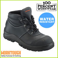 Pro Heavy Duty Water Resistant Leather Mens Safety Work Boots Composite Toe Cap