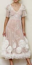 $230 NATAYA AL-8204 BALLERINA EMBROIDRED FLOWER TEA DRESS SIZE S SMALL