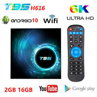 T95 Smart TV Box Android 10 FHD 2.4G WiFi Quad Core 16G 3D 6K HDR Media Streamer