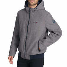 NWT Tommy Hilfiger Softshell Bomber Jacket Men's Size XL Heather Grey Hood NEW