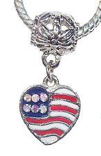 AB Rhinestone American Flag Heart USA Patriotic Dangle Bead for Charm Bracelet