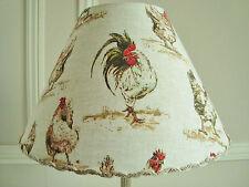 SUPERBE ABAT-JOUR TISSU POULES COQ 20 cm x 30 cm POUR PIED DE LAMPE