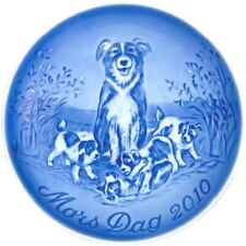 Bing & Grondahl 2010 Mother's Day Plate B&G Border Collie & Pups Mint!