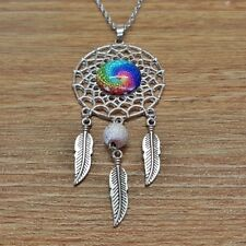SIlver Geometry Glass Dome Dream Catcher Fashion Pendant Boho Mandala Necklace