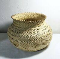 Vintage Round Wicker Rattan Basket