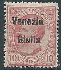 1918-19 VENEZIA GIULIA EFFIGIE 10 CENT VARIETà PUNTO DOPO LA G MNH ** - Z2-5