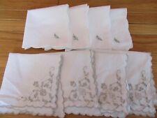 Lovely Vintage Embroidered Cream/white cotton / linen Tea  Napkins x 8 assorted
