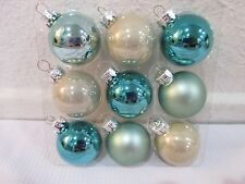 "Coastal Collection Christmas MINI Glass Ball Aqua Ornaments 1.5"" Set of 9"