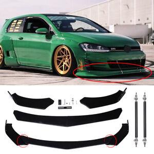Front Bumper Lip Spoiler Splitter+Strut Rods For VW Golf MK7 GTI MK6 MK5 MK4 MK3