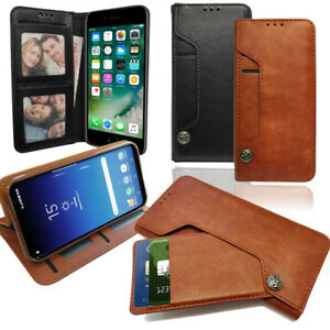 Leather Wallet Phone Case with Pull out card Holder, Money Slot & Photo Frame