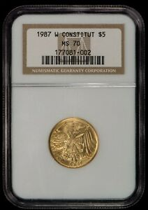 1987-W G$5 US Constitution Commemorative Gold Coin - NGC MS 70 - SKU-G1010