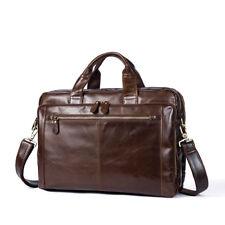 Men Genuine Leather Attache Briefcase Laptop Portfolio Handbag Shoulder Bag