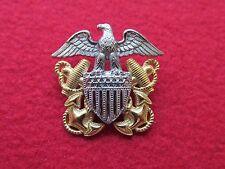 US NAVY overseas hat badge  * HILBORN & HAMBURGER * STERLING & 1/20 10K GOLD