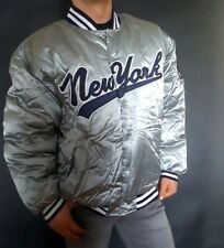 MATCH ONE Mens Silver Jacket Sport Bomber Whif Patch New York Baseball Size XL