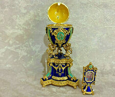 "Faberge Egg Musical Blue Danish Jubilee (9""). Plays Swan Lake. Made in Russia"