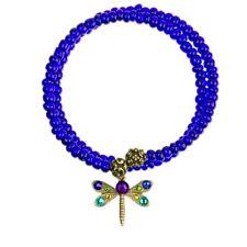 ANNE KOPLIK WRAPSODY WRAP CHANGE BLUE BRACELET DRAGONFLY CHARM SWAROVSKI CRYSTAL
