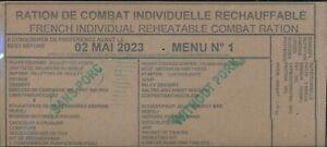 # 2023 Ration de combat francaise Menu 1   RCIR -MRE