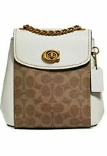 NWT Coach Parker Convertible Backpack 16 Signature Canvas 69650 tan dusty pink