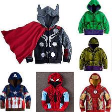 Kids Boys Superhero Hooded Jacket Coat Zip Up Hoodies Sweatshirt Tops Outwear