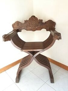 Antique Vintage Italian Folding Wood Chair Savonarola LION HEADS Hand Carved