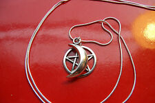 "Moon & Pentacle / Pentagram Charm on a 30"" Sterling Silver Snake Chain Necklace"