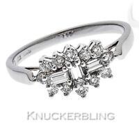 "Diamond ""Boat"" Cluster Ring 0.50ct F VS Baguette & Brilliant Cut 18ct White Gold"