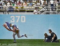 RICK MONDAY CUBS SAVES BURNING USA FLAG DODGER STADIUM 8x10 COLOR PHOTO