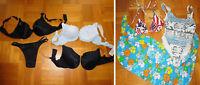 Paket Badeanzug Triangel Pareo Tuch 3 BHs + 1 String Gr. S 36 38