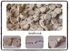 Hand Cut Semi Precious Gemstone White Howlite Octagon Beads - approx 10mm x 4mm