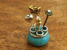 DOLLS HOUSE VICTORIAN STYLE  HATPINS  IN HOLDER