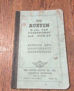 THE AUSTIN 10 CWT VAN  COUNTRYMAN PICK-UP RUNNING MAINTENANCE INSTRUCTIONS 1949
