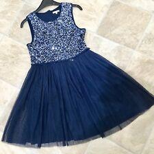 🎄Girls BLUEZOO Blue/Silver Sequin Tulle Tutu Xmas Party Dress Age 11-12 Next Dp