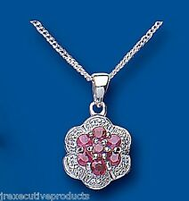 Ruby Pendant Diamond Cluster Necklace Solid Sterling Silver