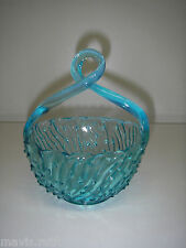 EAPG Jefferson Glass May BASKET blue/Aqua Applied Twisted loop handle