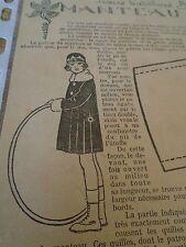 """PATRON ORIGINAL POUR LA POUPEE """" BLEUETTE MANTEAU DE VELOURS   MARS 1927"""