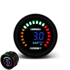 "2"" 52mm Car Blue LED Digital -1-3 Bar Turbo Boost Gauge Meter With Sensor 12V"